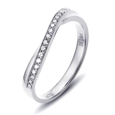 Fede nuziale ondulata in Oro bianco e Diamanti per Donna | Métis