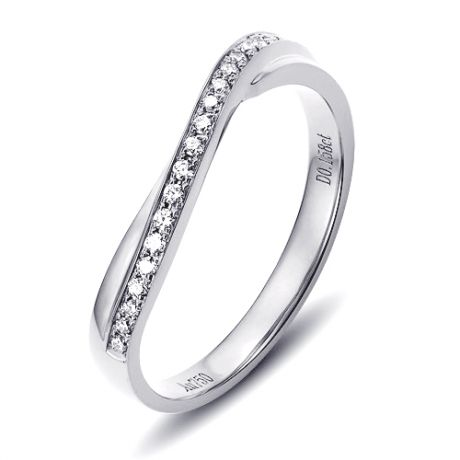 Fede nuziale ondulata in Platino e Diamanti per Donna | Métis