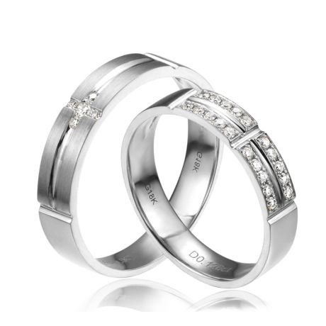 Alliances Couple - Or blanc - Diamants
