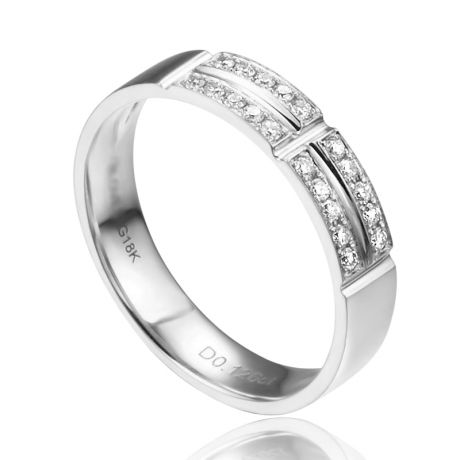 Alliance biseautée femme - Or blanc - pavage Diamants