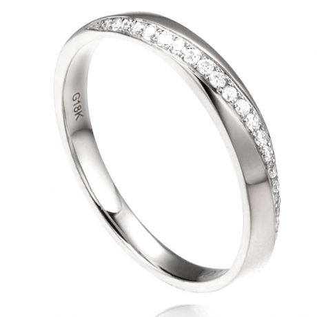 Alliance Femme Or blanc 18cts, diamants. Ondulation | Téa