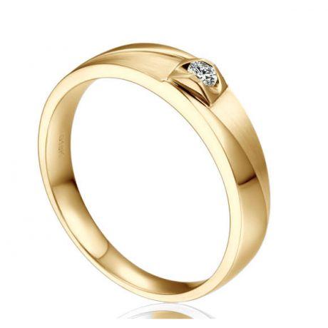 Alliance Renzo Brossée et Polie Or Jaune, Diamant | Gemperles