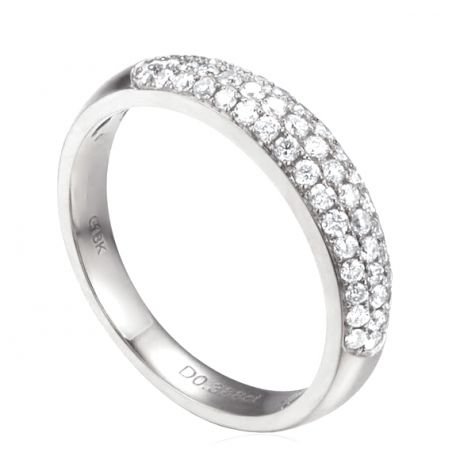 Alliance bombée Or blanc 18 carats. 49 diamants 0.388ct   Bianca