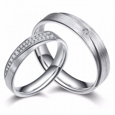 Alliances Duo Sillage Amoureux en Or Blanc et Diamants | Gemperles