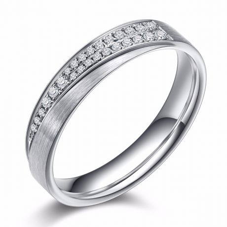 Alliance Sillage Amoureux Femme - Or Blanc, Diamants | Gemperles