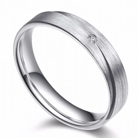 Alliance Sillage Amoureux Homme - Or Blanc, Diamants | Gemperles