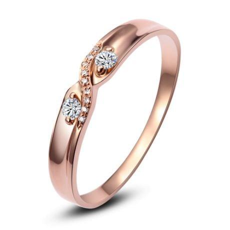 Fede nuziale Donna. Oro rosa e Diamanti | Constance