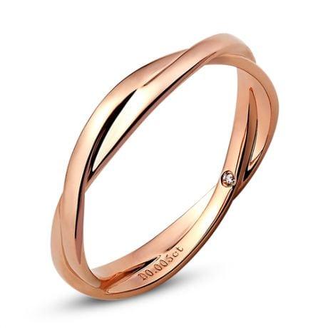 Fede Nuziale Intrecciata Tara - Anello Doppio in Oro Rosa & Diamante