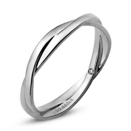 Fede Nuziale Intrecciata Blanka - Anello Doppio in Oro Bianco & Diamante