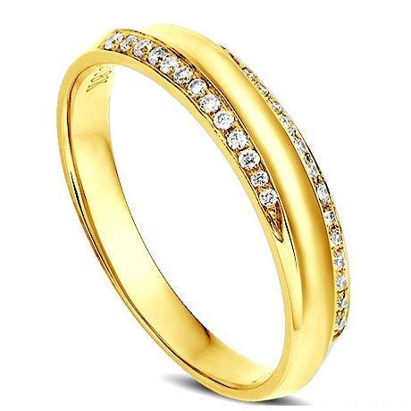 Fede Donna. Oro giallo. Diamanti incastonati 0.110ct