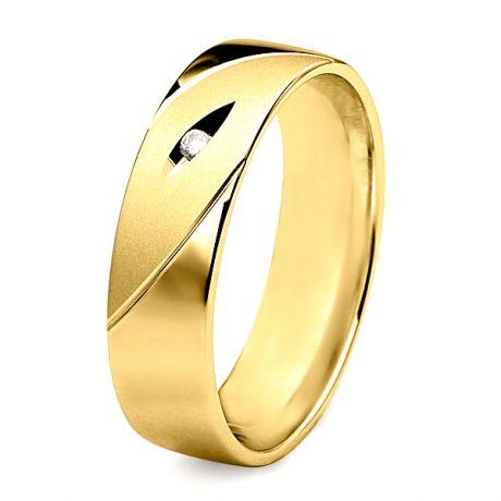 Alliance homme - Lignes fluides or jaune, diamant - Polie, brossée