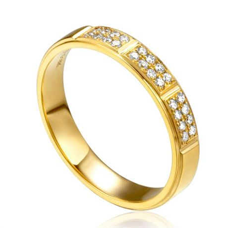 Alliance biseautée femme - Or jaune pavage diamants
