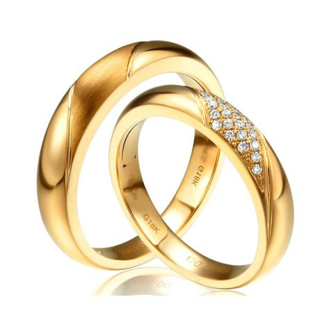 Alliances Duo - Or Jaune - Diamants | Autour de moi