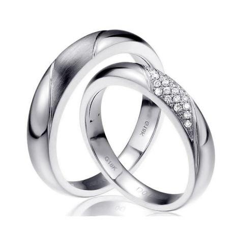 Fedi Nuziali Attorno A Me - Oro Bianco e Diamanti