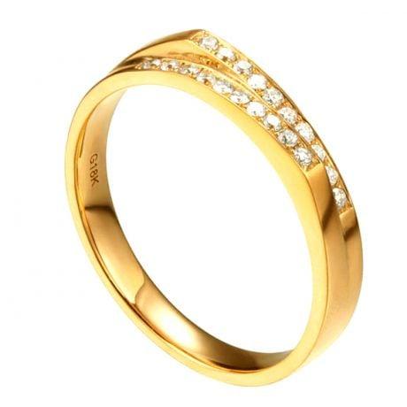 Alliance mariage 2 anneaux en 1. Femme moderne Or jaune