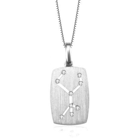 Pendentif vierge or blanc - constellation zodiaque - Diamants