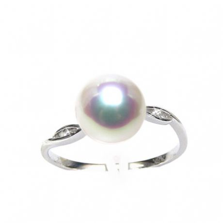 Bague or blanc - Perle Akoya blanche Japon - Diamants sertis rails