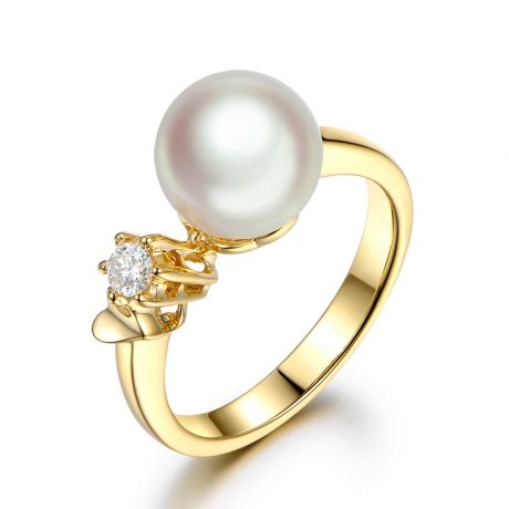 Bague Or jaune. Duo Perle Akoya et Diamant serti