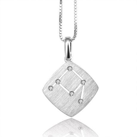 Ciondolo astrologico - Costellazione della bilancia - Oro bianco, diamanti