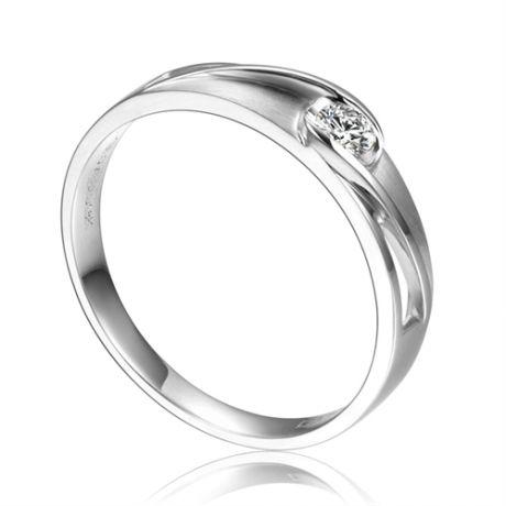 Fede Nuziale da Uomo Rivage - Platino e Diamante Centrale