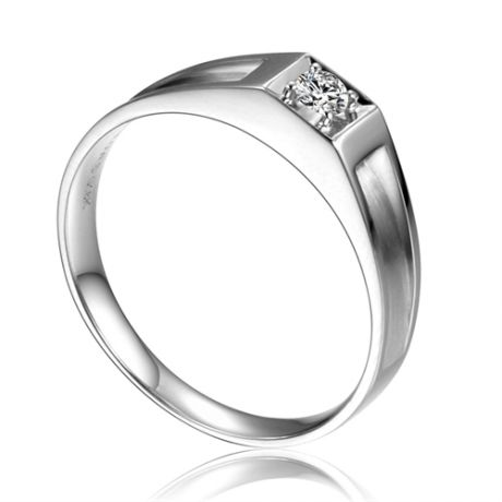 Alliance de type solitaire. Alliance Femme en or blanc et diamant | Adina