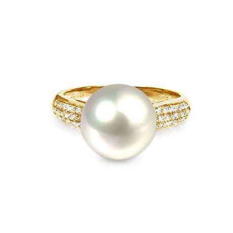 Bague Perle Culture Eau Douce Blanche. Or Jaune Diamants