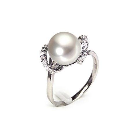 Anello Byzance - Oro Bianco 18kt, Diamanti e Perla d'Acqua Dolce