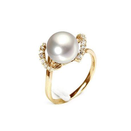 Anello Byzance - Oro Giallo 18kt, Diamanti e Perla d'Acqua Dolce