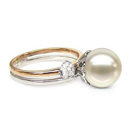 Anello oro bianco, giallo - Perla acqua dolce bianca - 9/10mm