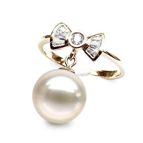 Anello Noeud Papillon - Oro Giallo 18kt, Diamanti e Perla d'Acqua Dolce