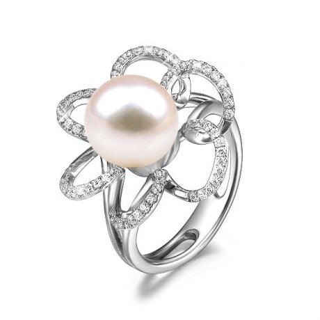 Anello Fleur Perlée - Oro Bianco, Perla d'Acqua Dolce Bianca