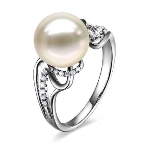 Anello Corinthe - Oro Bianco, Perla d'Acqua Dolce