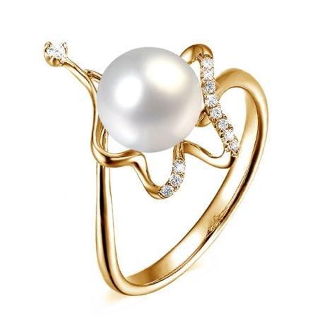 Anello Babylone - Oro Giallo 18kt, Diamanti e Perla d'Acqua Dolce