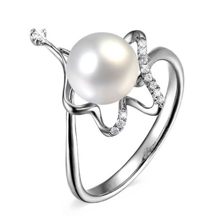 Anello Babylone - Oro Bianco 18kt, Diamanti e Perla d'Acqua Dolce