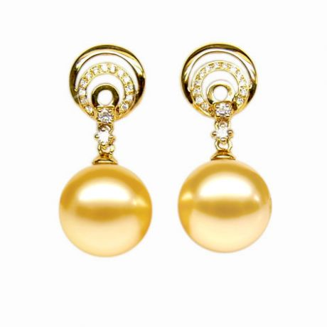 Boucles oreilles Île Hamilton - Perles Australie, or jaune, diamants