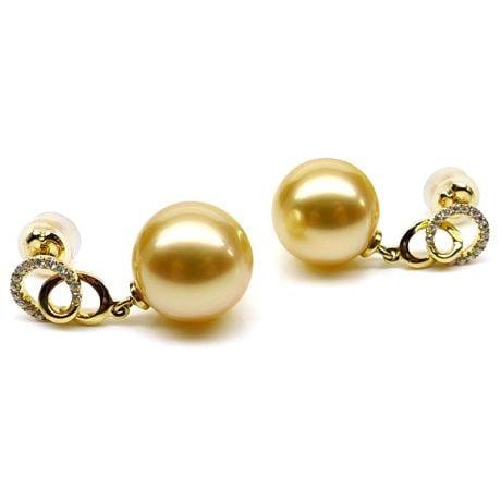 Orecchini Entournées - Perle Filippine Dorate e Oro Giallo