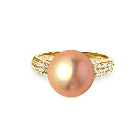 Bague Perle Culture Eau Douce Rose. Or Jaune Diamants