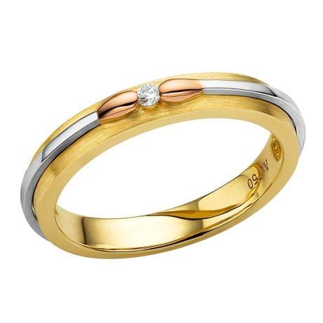 Fede in oro giallo, bianco e rosa per Donna. Collezione dei fiammiferi diamantati | Larissa