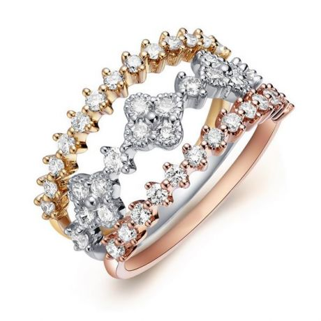 Bague 3 anneaux or jaune, blanc et rose. Myriade diamants | Classic Three Light