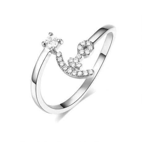 Anello Ancora per Donna -  Oro Bianco 18ct e Diamanti VS/G | Gemperles