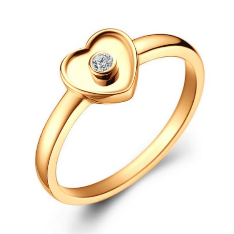 Anello Cuoricino - Oro Giallo 18ct & Diamante Solitario | Gemperles