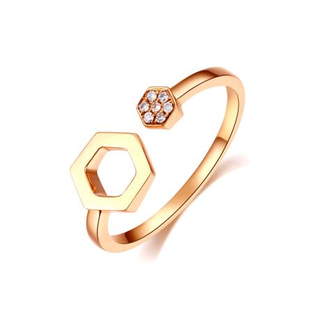 Bague ouverte hexagone. Or jaune 18cts, diamants 0.030ct