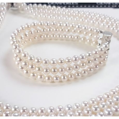 Bracelet 3 rangs de perles Mariage. Triple rangée. 5/5.5mm