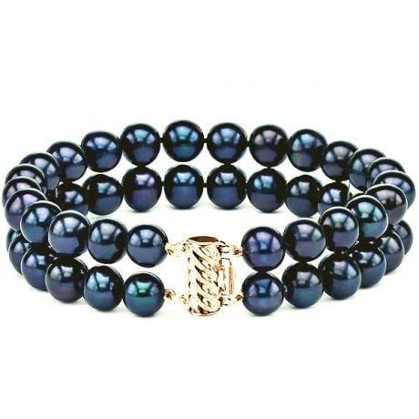 Bracelet Double Perles Eau Douce Noires. 7/7.5mm, AAA