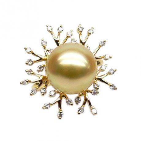 Anello Coraline - Perla dei Mari del Sud Dorata e Oro Giallo