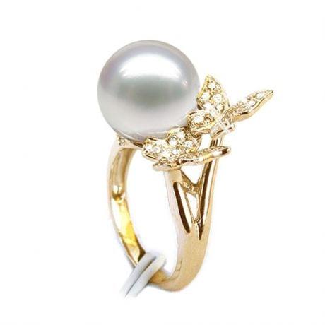 Anello Papillons - Perla dei Mari del Sud Bianca e Oro Giallo