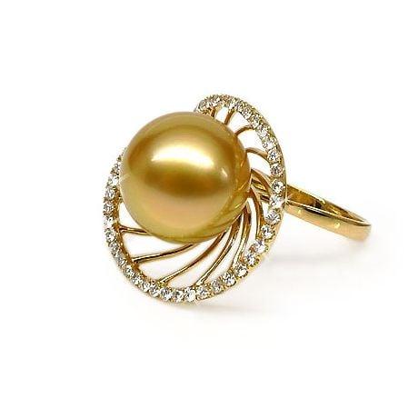 Bague forme elliptique - Perle d'Australie dorée - Or jaune, diamants