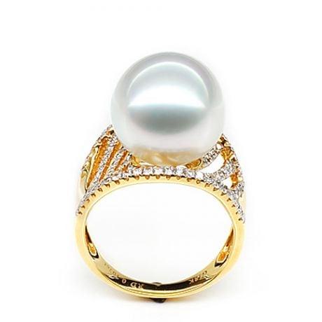 Bague des îles Cocos - Or jaune et perle d'Australie - Diamants