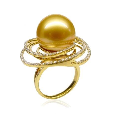 Anello Andrew - Perla dei Mari del Sud Dorata e Oro Giallo