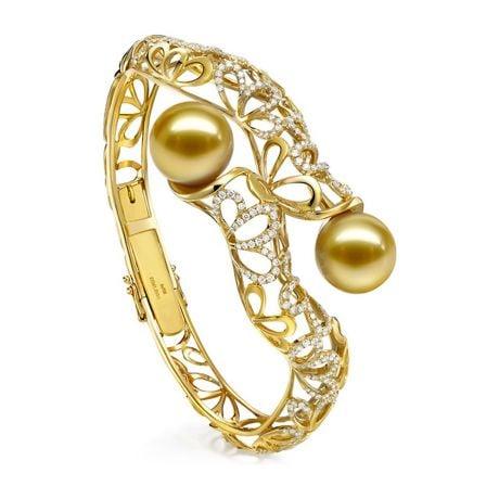 Braccialetto Ondulazione - Oro Giallo, Perle dei Mari del Sud